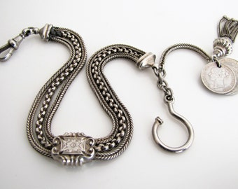 Victorian Albertina Pocket Watch Chain, Foxtail Tassel, Victoria Young Head Threepenny Coins, Antique Sterling Silver Watch Chain Bracelet