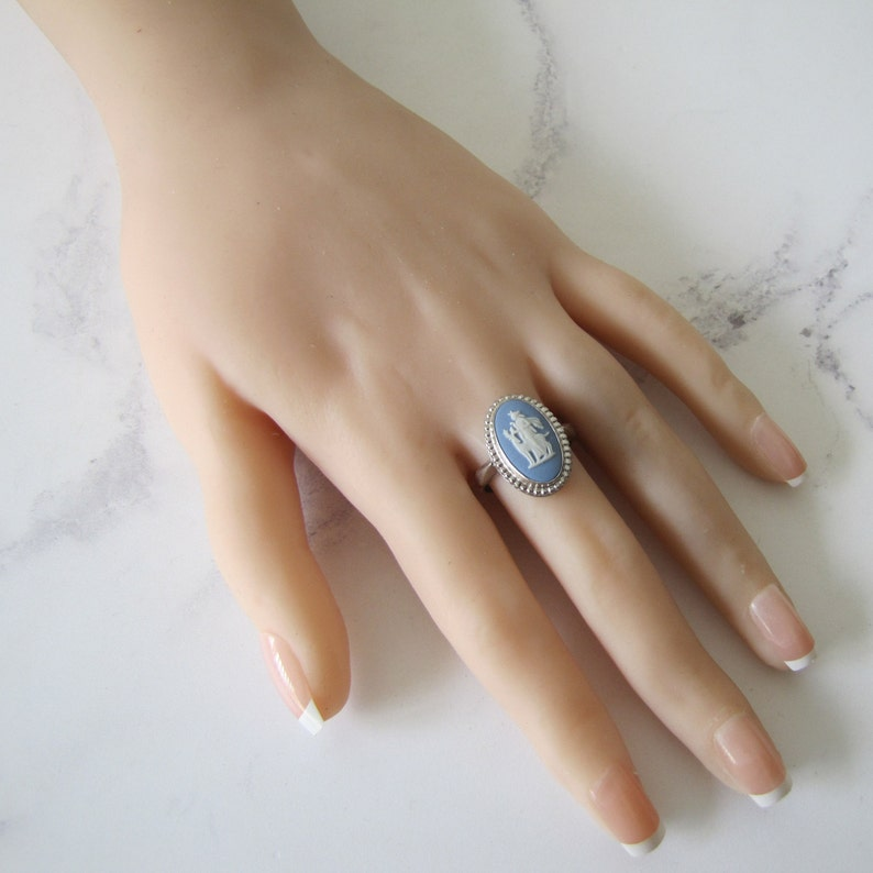 Vintage Cameo Ring Wedgwood Blue Jasperware Boxed. Sterling image 0