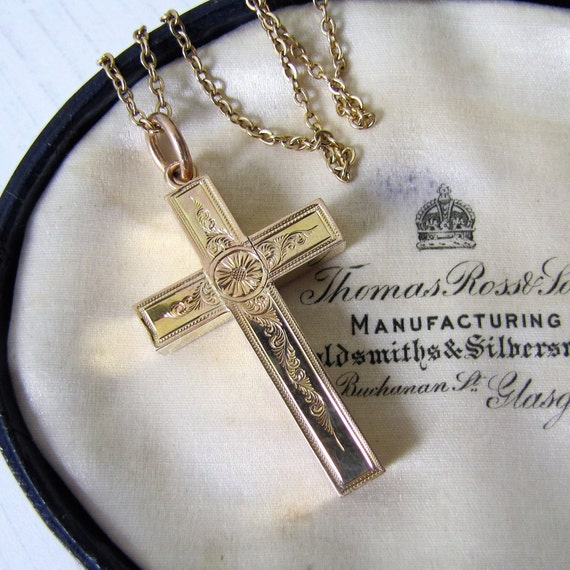 Cross Dark Gold Charms 3 Pieces /& 2 Sided