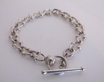 Italian Sterling Silver Fancy Chain Link Toggle Bracelet. Modern Mariner Navy T-Bar Silver Bracelet. Watch Chain Designer Bracelet, Italy.