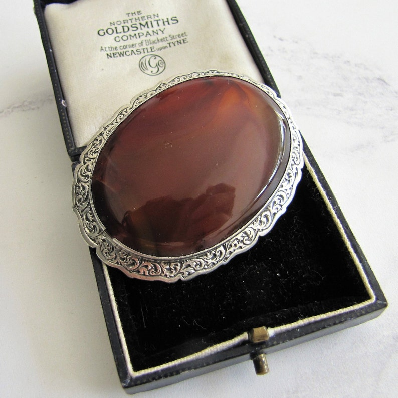 Antique Scottish Silver Carnelian Brooch. Victorian Engraved image 0