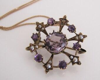 Edwardian Gold, Amethyst, Pearl Pendant. Antique Art Nouveau 9ct Gold Necklace Pendant - Convertible Brooch. Natural Pearl Amethyst 9K Gold