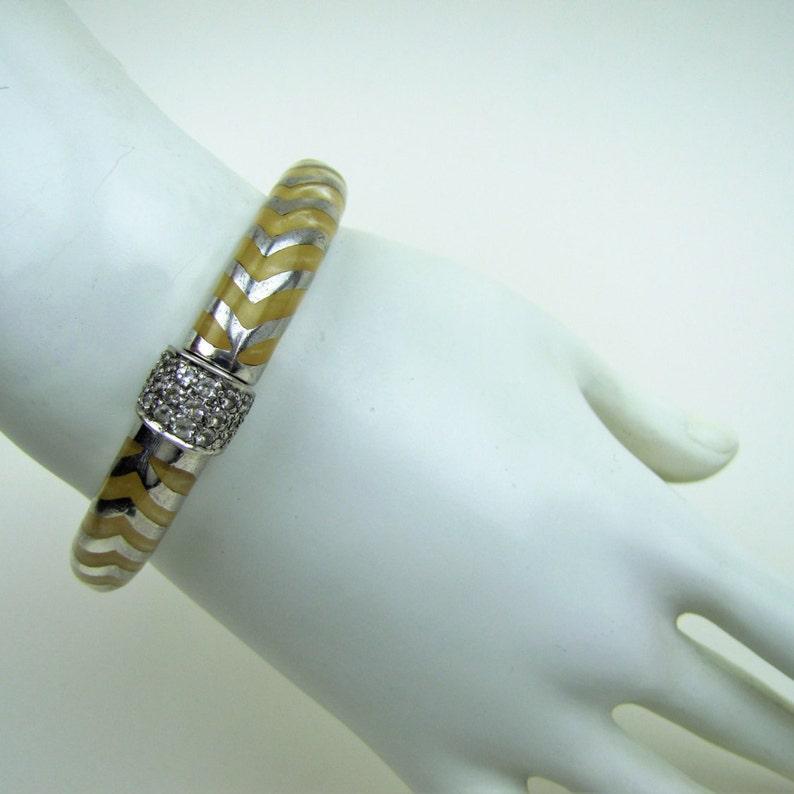 Yellow Resin White Topaz Bracelet Couture Runway Modern Designer Luxury Brand Jewelry. Angelique de Paris Sterling Silver Mata Hari Bangle