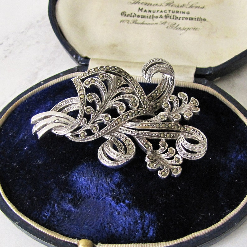 1930s Sterling Silver And Marcasite Brooch. Large Flower Spray image 0