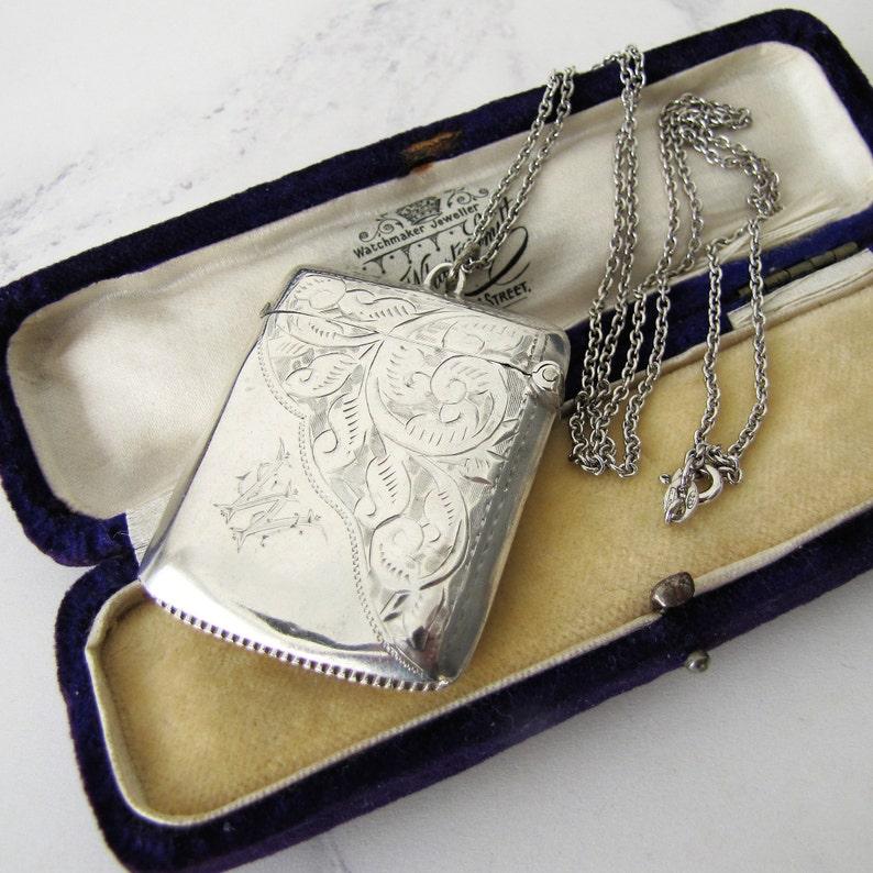 Antique Silver Vesta Pendant & Long Chain. Edwardian Engraved image 0