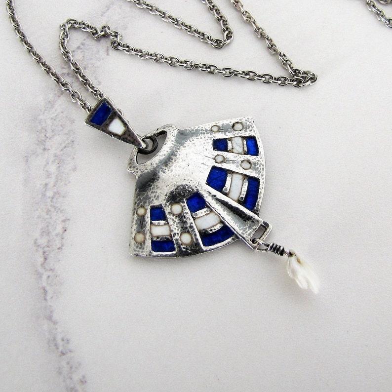 4198da48df4c6 Art Nouveau Silver Enamel Necklace Pendant William Hair
