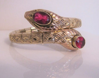 Art Deco Rolled Gold Red Ruby Snake Bracelet. Antique Victorian Revival Segmented Bangle. Andreas Daub Germany Wraparound Serpent Cuff c1910