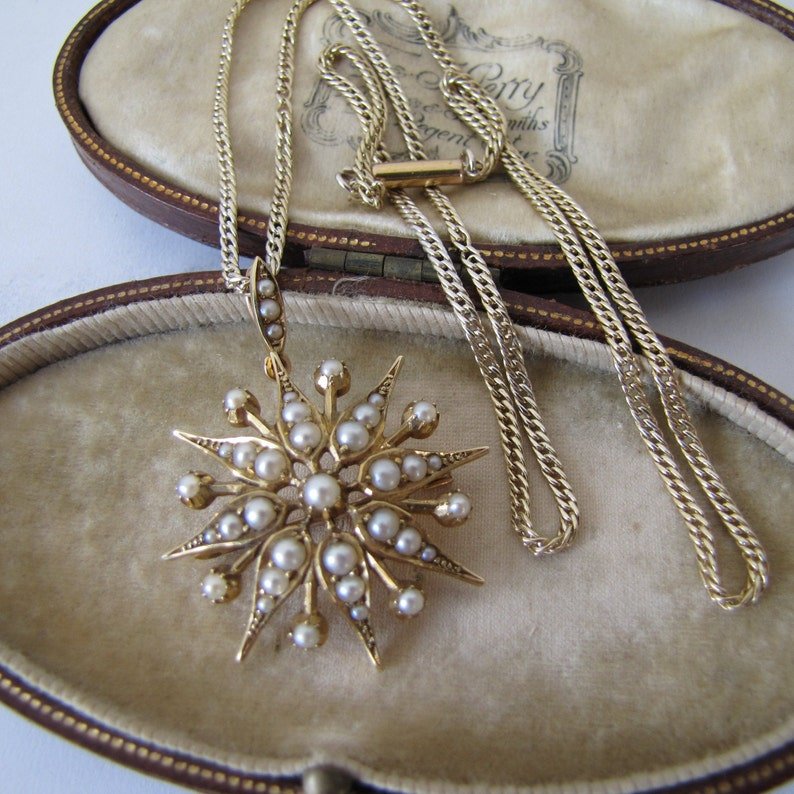 Victorian 15ct Gold Star Pendant Necklace. Antique English image 0