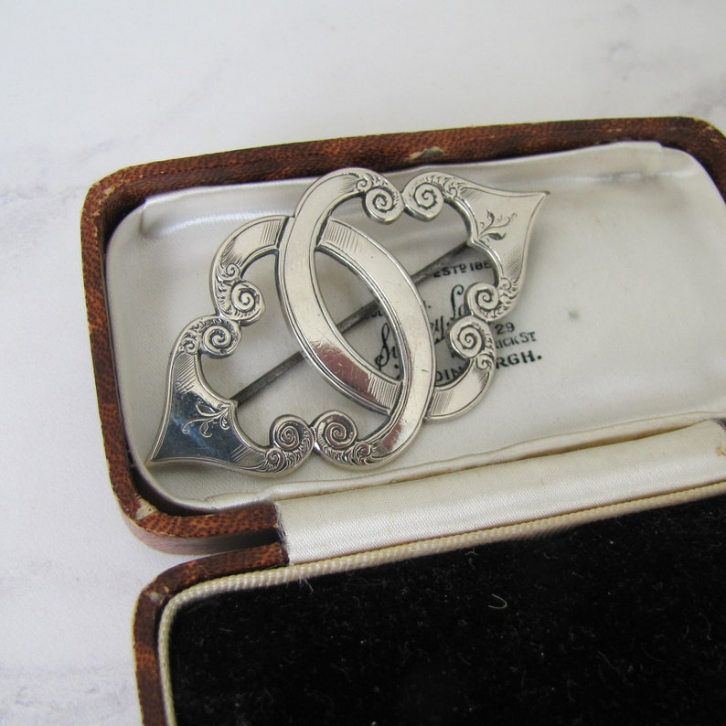 Victorian Silver Celtic Brooch. Intertwined Initial C image 0