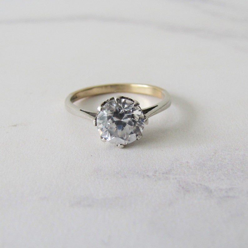 White Zircon Engagement Ring 1930s Art Deco 9ct Gold Single image 0