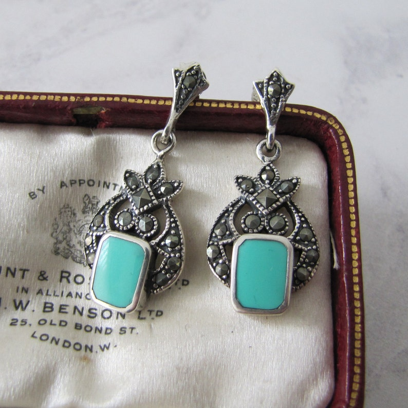 Vintage Silver Marcasite & Green Turquoise Earrings. Sterling image 0