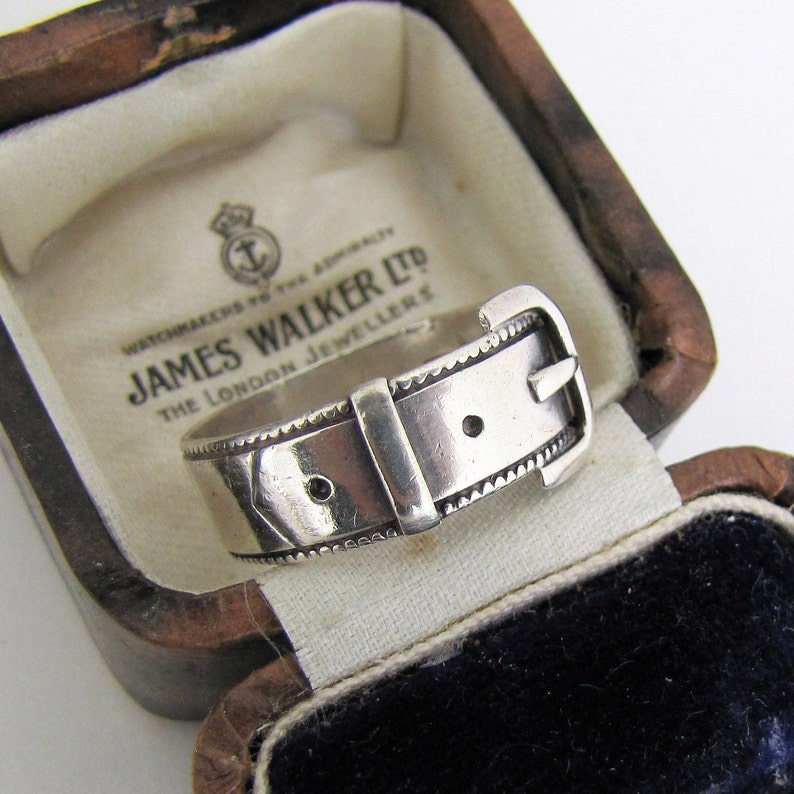 Antique 1893 Silver Buckle Ring. English Victorian Wide Band image 0
