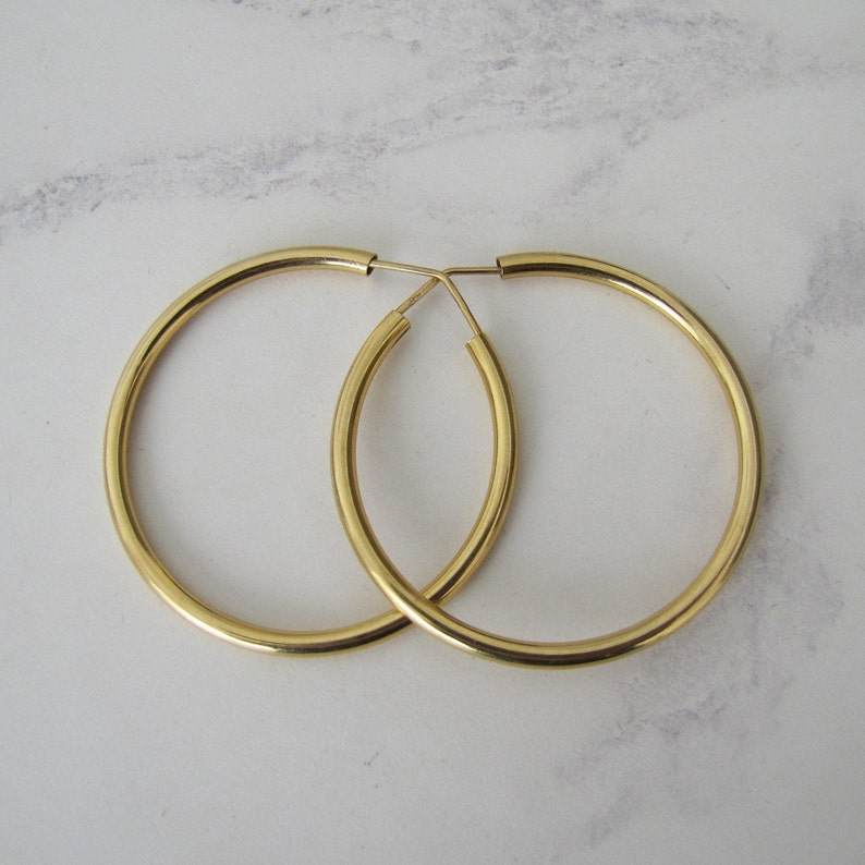 18ct Gold Large Hoop Earrings. Vintage Italian Yellow Gold 2 image 0