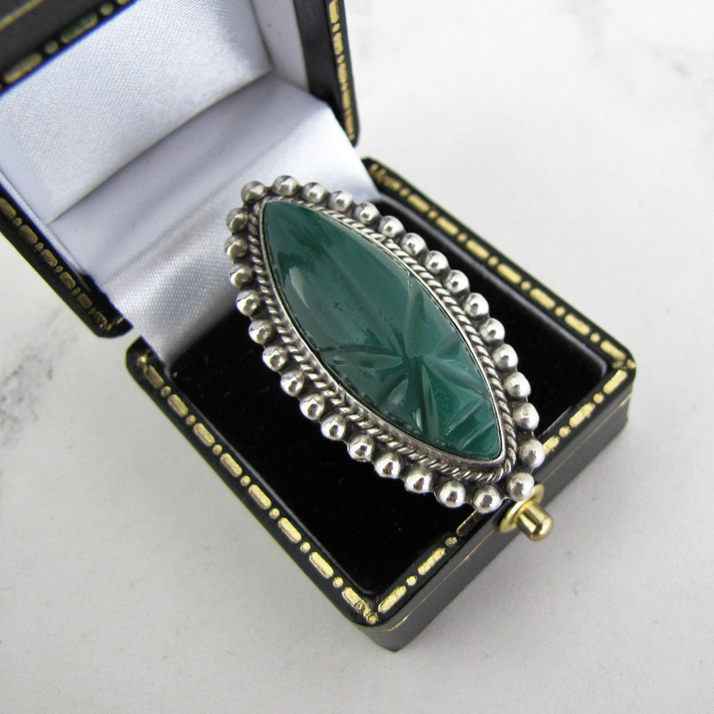 Mexican Silver Chrysoprase Ring. Carved Mayan Mask Aztec Ring. image 0