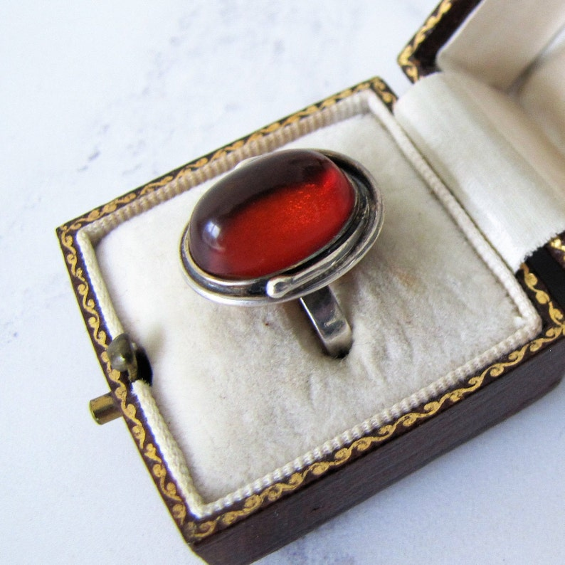 Vintage Baltic Amber Silver Ring. 1930s Natural Cognac Amber image 0