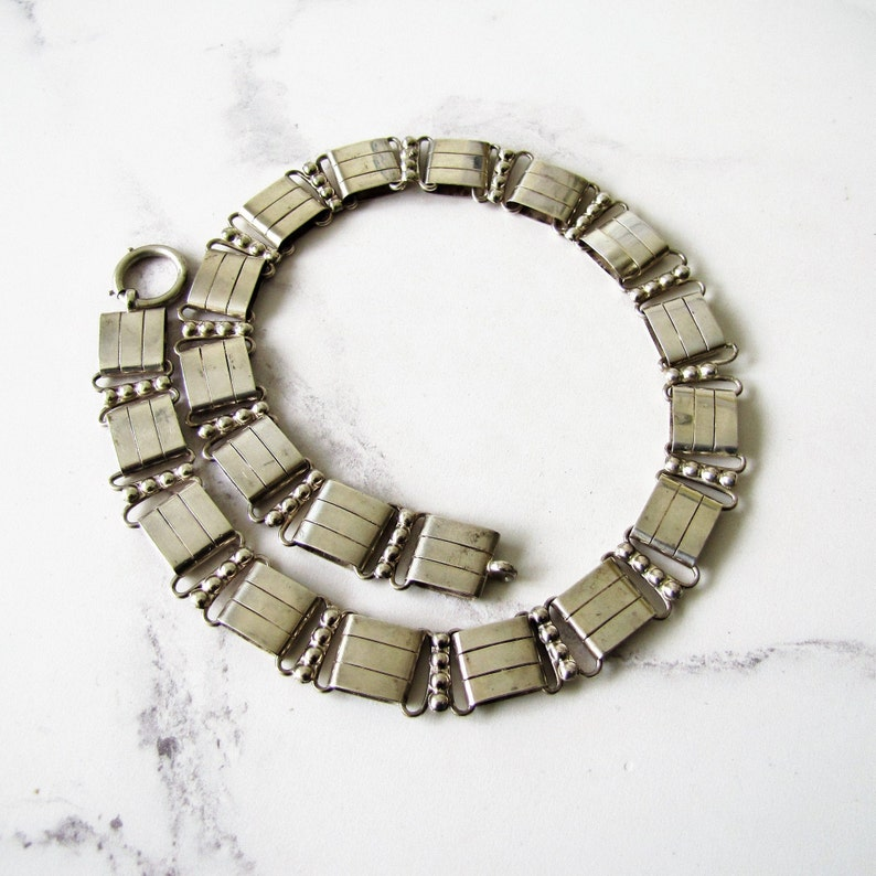 Antique Book Chain Silver Necklace. English Sterling Silver image 0