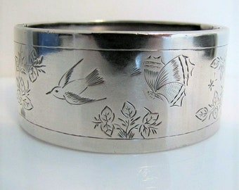Antique Victorian Solid Silver Wide Cuff Bracelet. Engraved Ivy Oak Swallow Butterfly. English Aesthetic Era Sterling Silver Hinged Bangle