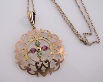 Edwardian 9K Gold Pendant Drop Necklace. Art Nouveau Rhodolite Garnet & Peridot Necklace. Antique English 9CT Pendant Necklace By S. Bros