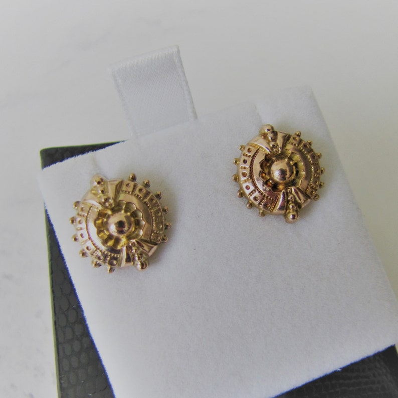 Victorian 9ct Gold Target Earrings. Antique Etruscan Revival image 0