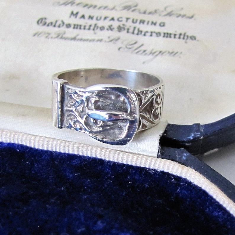 Celtic Engraved Silver Buckle Ring. Vintage Scottish Silver image 0