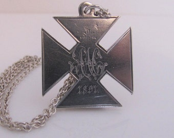 Victorian Silver Necklace Pendant Fob. Antique Engraved Sterling Silver Maltese Cross Pendant Necklace. English Monogrammed 1891 Birmingham