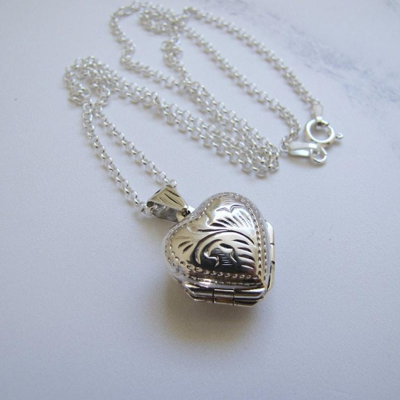 51203361da784e 4 Photo Silver Heart Locket Necklace. Victorian Style Sterling | Etsy