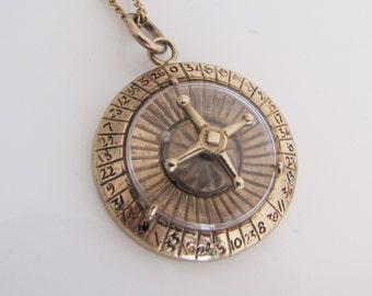 Vintage 9ct Gold Spinning Roulette Wheel Pendant. 9K Gold Enamel Casino Pendant. Large Lucky Charm Necklace Pendant. F Manshaw London 1960