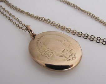 Victorian Gold Locket. Antique 9 Ct Gold Engraved Belt Buckle Locket And Neck Chain. Solid Gold Oval Photo Locket. Love Token Gifts For Her