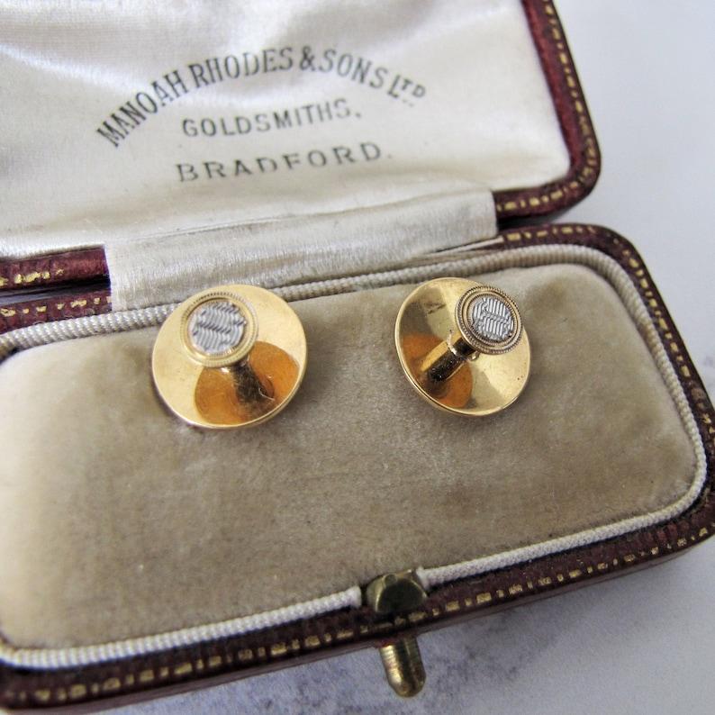 Antique 18ct Gold Platinum Shirt Studs Original Fitted Case. image 0