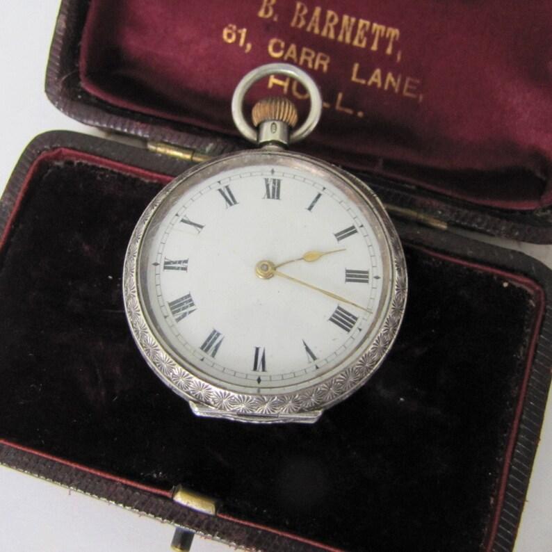 Ladys Antique Silver Pendant Watch. Edwardian Engraved image 0