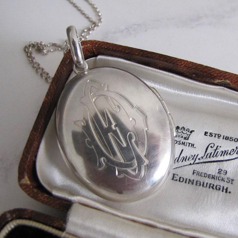 Antique Silver Locket. Victorian Large Oval Locket Engraved image 0