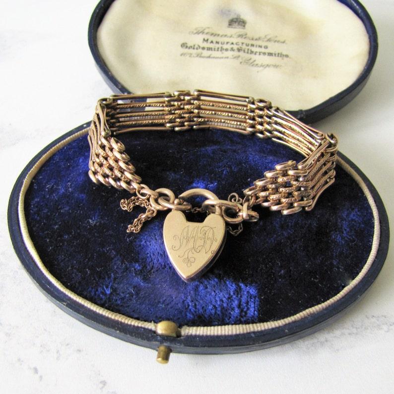 Antique Heart Padlock Bracelet Hercules 9ct Rose Gold 5 Bar image 0