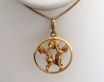 Vintage Italian 9ct Gold Gemini Pendant, Zodiac Twins Castor & Pollux. Large 9K Gold Horoscope Necklace Pendant by Uno A Erre Italy.