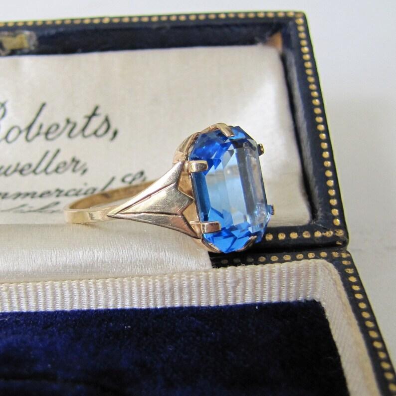 Art Deco Blue Zircon Ring 9ct Gold. Vintage 1930s Ring. 6 image 0