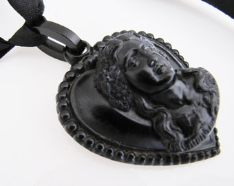 Victorian Pressed Horn & Whitby Jet Mourning Pendant. Antique Bacchante Cameo Heart Pendant Necklace. English Victorian Mourning Necklace