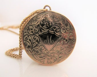 """Victorian Gold Mother Locket. Round 9ct Gold Engraved Locket, 18"""" Flat Cable Chain. Initial M Photo Locket. Chester 1939. Mom Gifts For Her"""