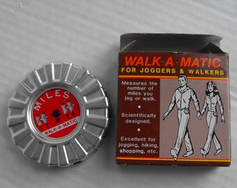"Vintage ""fitbit"" Walk-a-matic pedometer for joggers and walkers step counter 1985 in original box with instruction sheet"