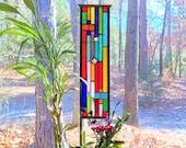 Stained Glass Garden Art - glass garden yard art - garden glass ornament - flower garden suncatcher - gift for gardener - garden stake