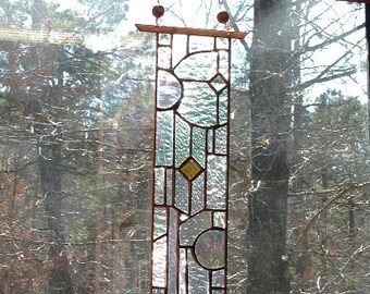 Glttering stained glass panel art home and living stained glass window suncatcher gift art glass