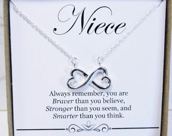 Gift For Niece Necklace Sterling Silver Heart You Are Braver Than Believe Birthday Graduation Sweet 16 Jewelry Cute
