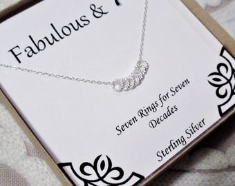 30th 40th 50th 60th 70th 80th 90th Birthday Present Necklace for Her Womens Women Gift Gifts for Ideas Elegant Sterling Silver