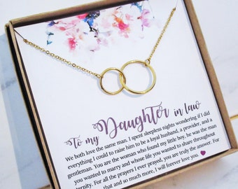 Daughter In Law Gift Necklace Wedding Jewelry From Mother For Bride 2 Interlocking Circles
