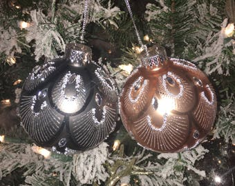 christmas ornaments feather ornament copper ornament ornament with feathers glam christmas tree glam christmas ornament pair of