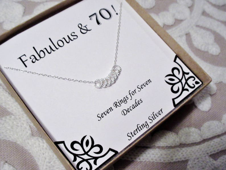 70th Birthday Present Necklace With Gift Box For Her