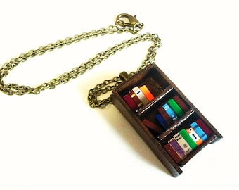 Antique Bookshelf Necklace - Book Jewelry by Coryographies (Made to Order)