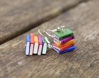 Stack of Books Earrings (Made to Order) - Summer Colours - Book Jewelry by Coryographies