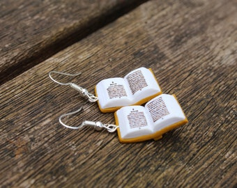 Open Book Earrings (Made to Order) - Mustard - Book Jewelry by Coryographies