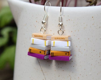 Stack of Books Earrings (Made to Order) - Yellows and Pinks - Book Jewelry by Coryographies