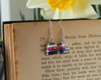 Stack of Books Earrings, Shades of Blue (Made to Order) - Book Jewelry by Coryographies