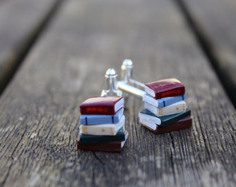 Stack of Book Cufflinks - Made to Order - Book Jewelry by Coryographies (Made to Order)